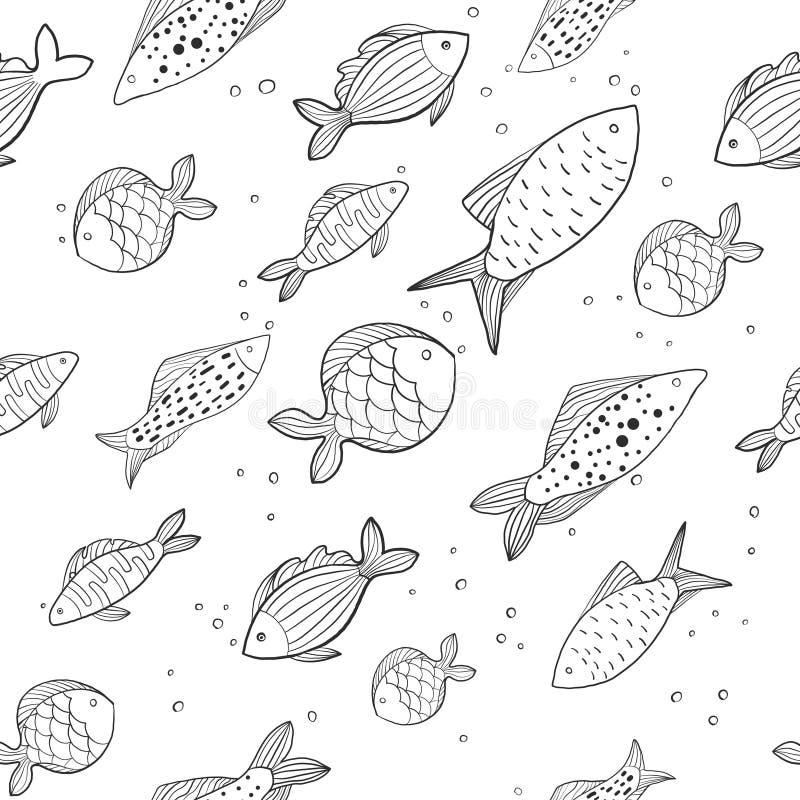 Безшовная картина со смешными рыбами небольшие и большие рыбы на белой предпосылке иллюстрация стоковые изображения