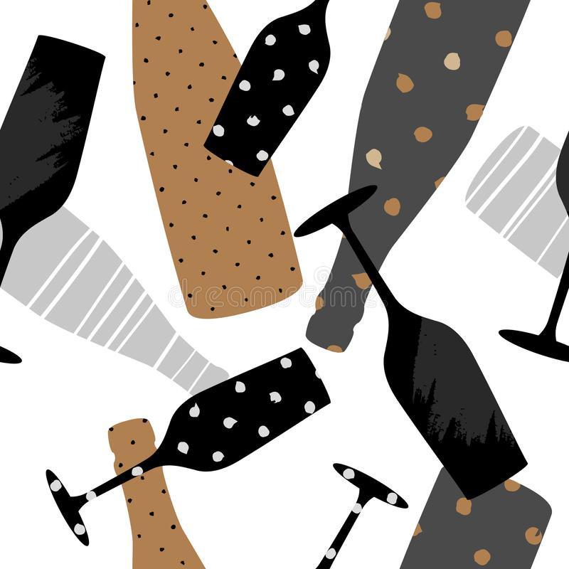 Безшовная картина со стеклом и бутылкой шампанского Вручите вычерченную ткань, обруч подарка, дизайн искусства стены иллюстрация вектора
