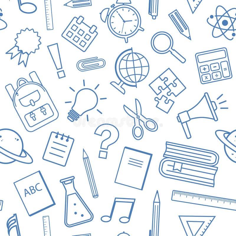 Безшовная картина со школьными принадлежностями, дизайн плана также вектор иллюстрации притяжки corel иллюстрация штока