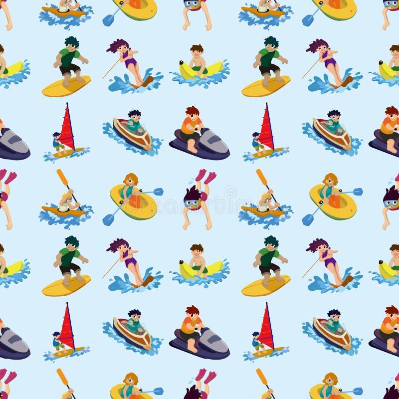 Безшовная картина спорта воды Стоковое фото RF