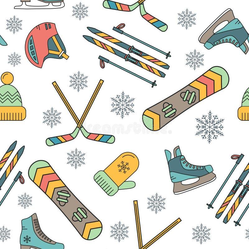 Безшовная картина спорта зимы иллюстрация вектора