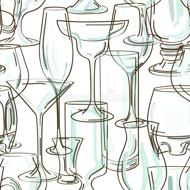 Безшовная картина стекел коктеила иллюстрация штока