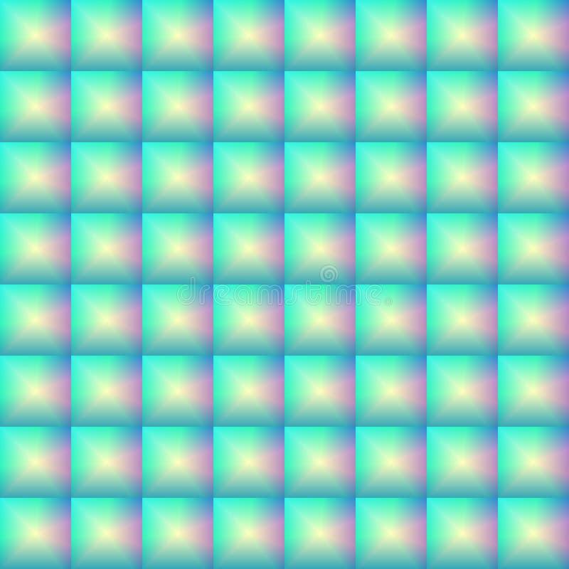 Безшовная картина стеклянной выпуклой мозаики, объемных контролеров, стеклянных блоков иллюстрация вектора