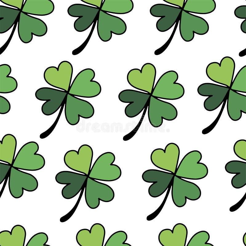Безшовная картина стиля клеверов плоского на счастливый день St Patricks иллюстрация штока