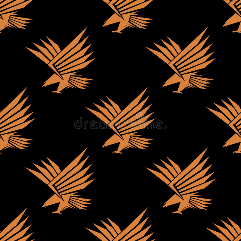 Download Безшовная картина стилизованного орла летания Иллюстрация вектора - иллюстрации насчитывающей величественно, сокол: 40588492
