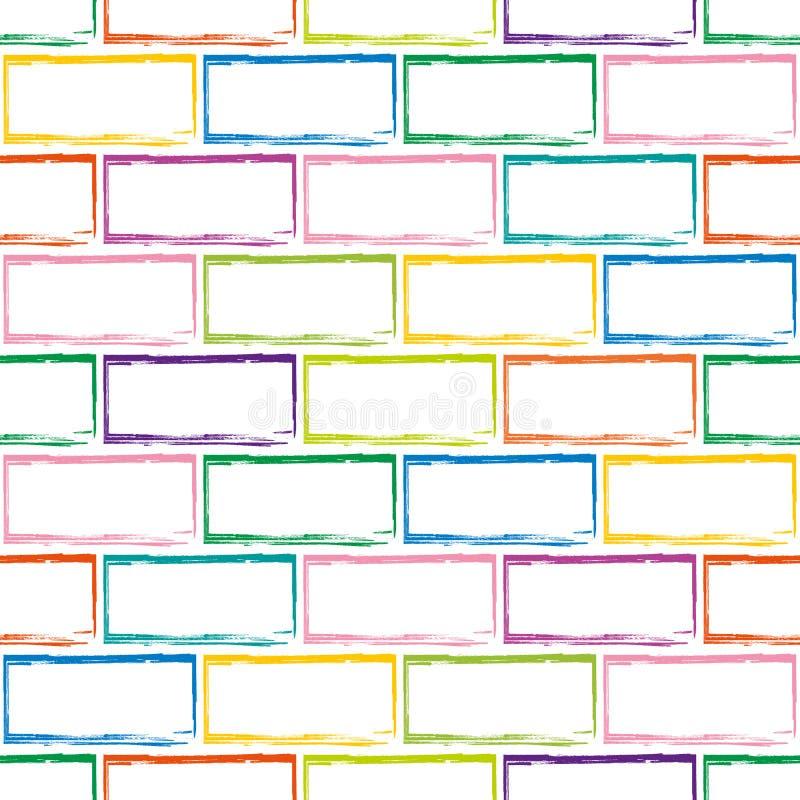 Безшовная картина стилизованной multicolor кирпичной стены иллюстрация штока