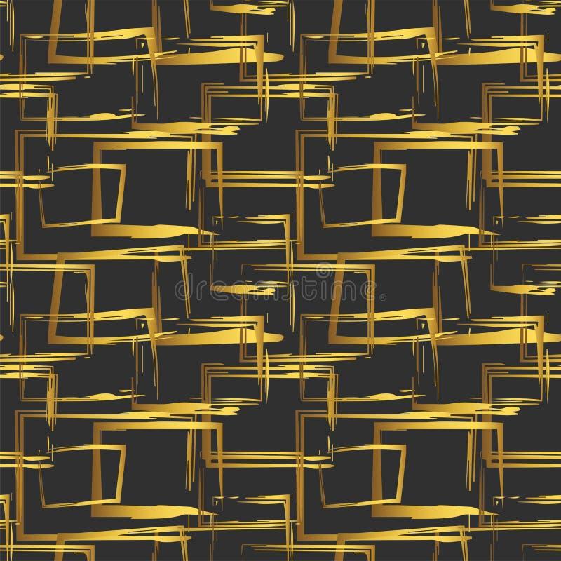 Безшовная картина с абстрактными золотыми геометрическими диаграммами на черной предпосылке конструкция легкая редактирует элемен иллюстрация вектора