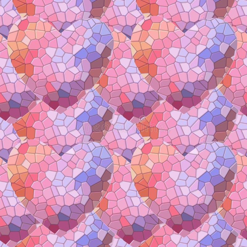 Безшовная картина с абстрактными сердцами, предпосылка Полигональный дизайн Геометрический полигональный стиль, графическая иллюс иллюстрация вектора