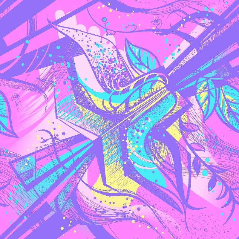 Безшовная картина с абстрактным цветком иллюстрация вектора
