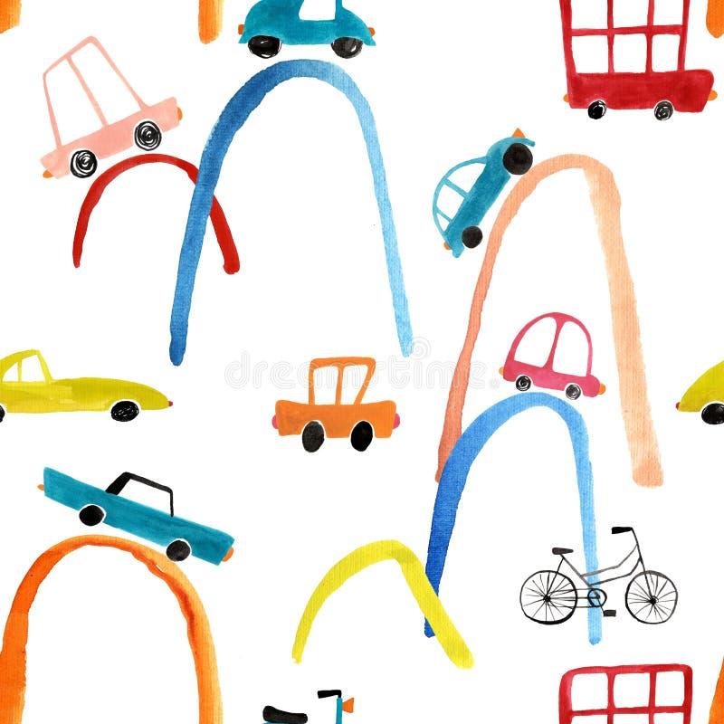 Безшовная картина с автомобилями гуаши стоковое фото