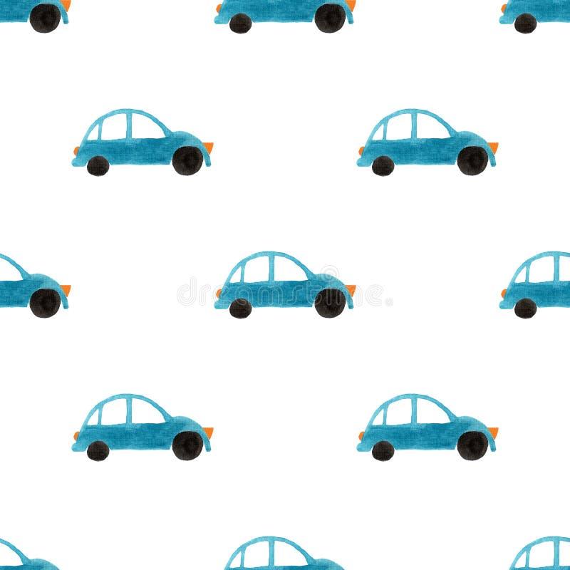 Безшовная картина с автомобилями гуаши стоковое изображение