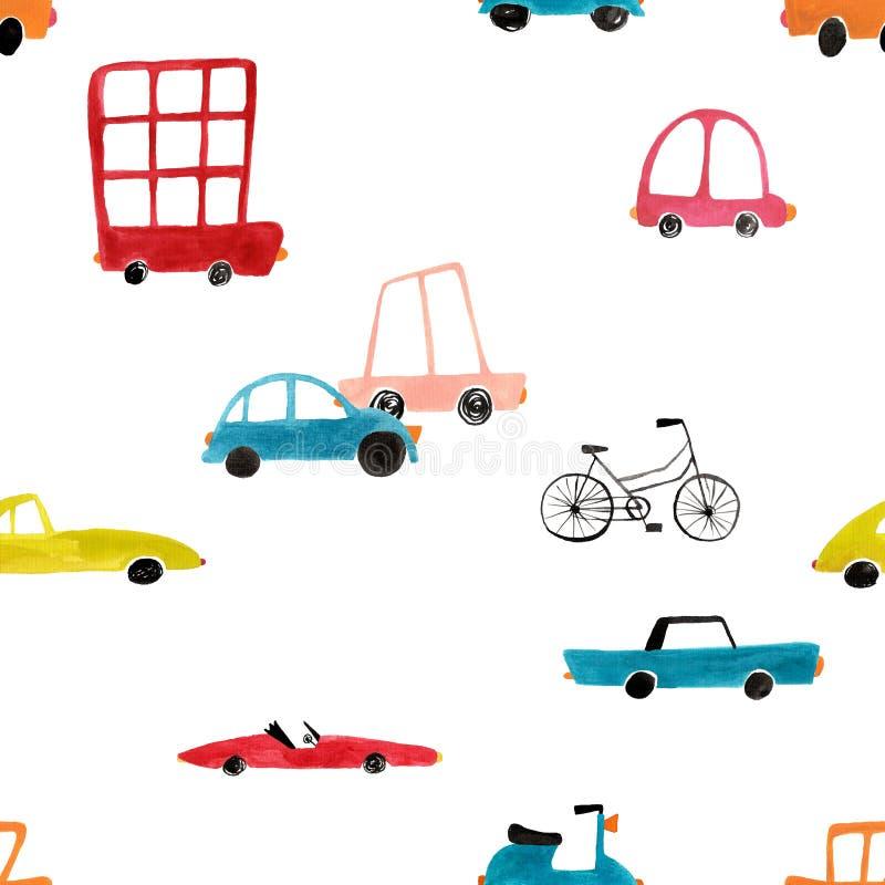 Безшовная картина с автомобилями гуаши стоковые изображения rf