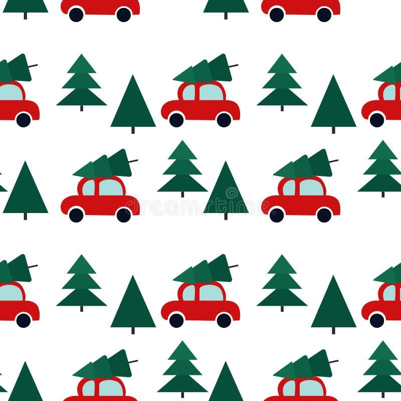 Безшовная картина с автомобилями и рождественской елкой иллюстрация штока