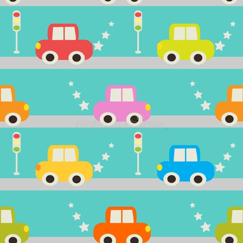 Безшовная картина с автомобилем шаржа иллюстрация штока