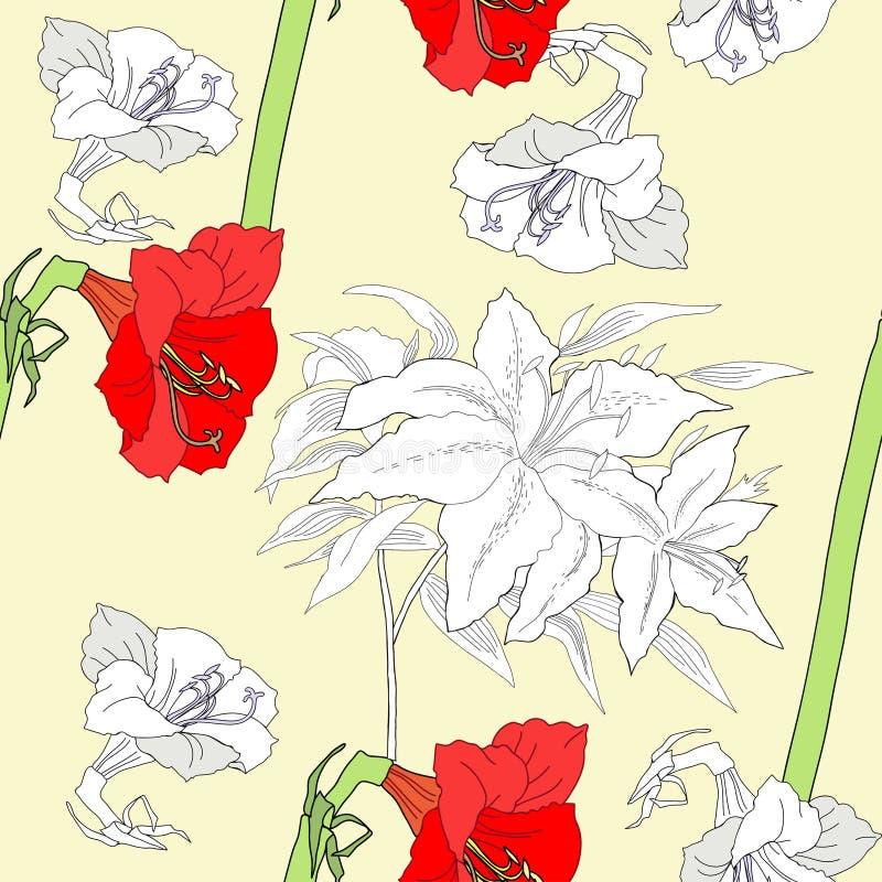 Безшовная картина с амарулисом и flowers-02 иллюстрация штока