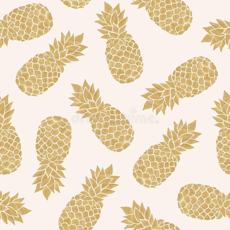 Безшовная картина с ананасами золота бесплатная иллюстрация