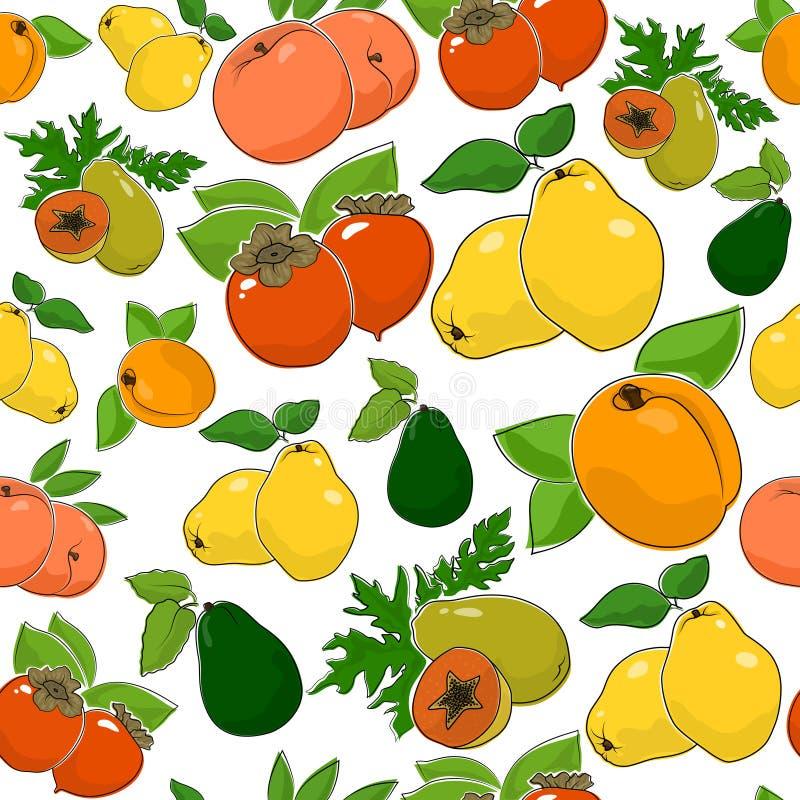 Безшовная картина сладостных свежих фруктов иллюстрация вектора