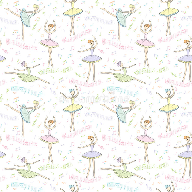 Безшовная картина с балеринами танцев на флористической предпосылке вектор иллюстрация штока