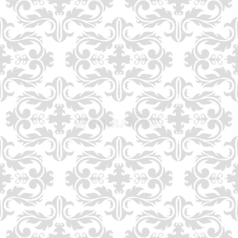 Безшовная картина с белыми и серыми орнаментами обоев иллюстрация вектора