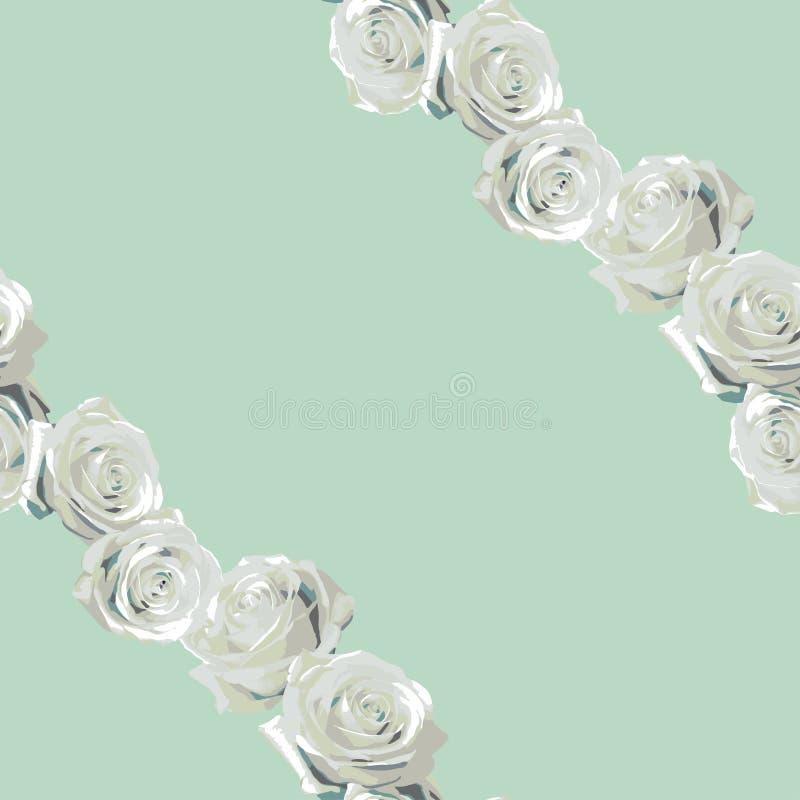 Безшовная картина с белыми розами стоковое фото rf