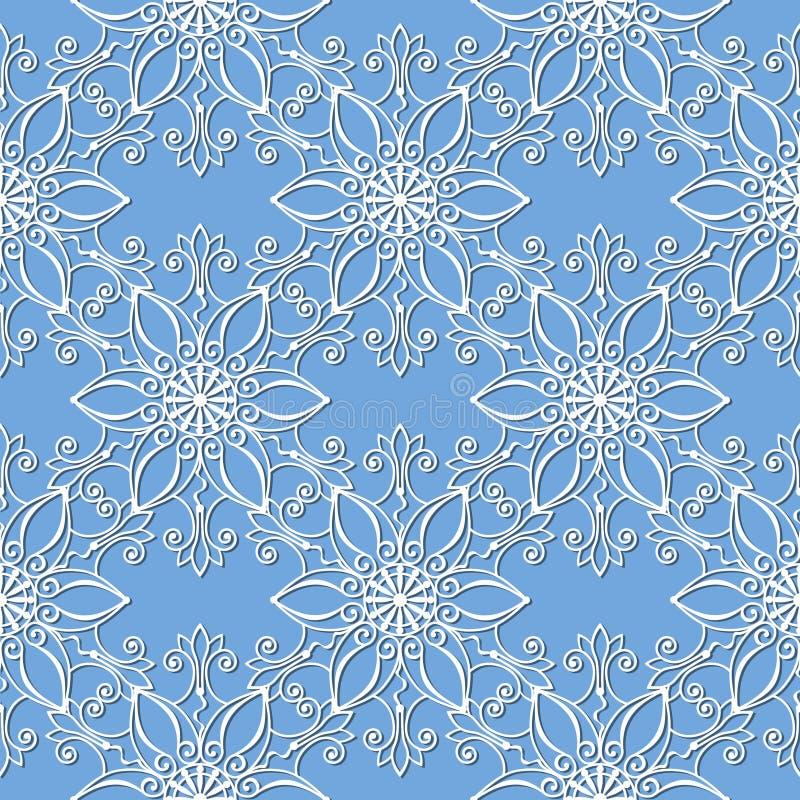 Безшовная картина с белыми снежинками иллюстрация вектора