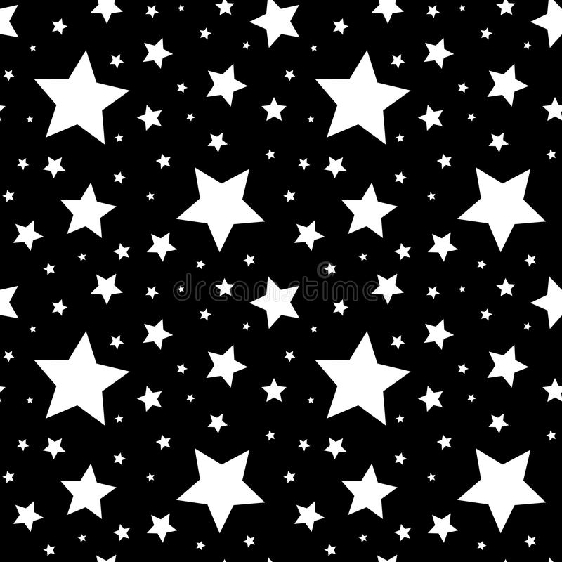 Безшовная картина с белыми звездами на черноте также вектор иллюстрации притяжки corel иллюстрация вектора