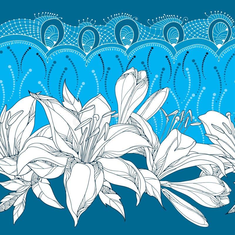 Безшовная картина с богато украшенным цветком лилии в белизне, бутонах, листьях и декоративном шнурке на голубой предпосылке вект иллюстрация вектора