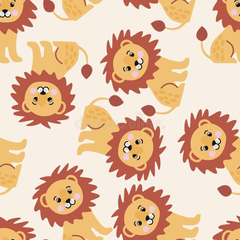 Безшовная картина с большими милыми львами стоковая фотография rf
