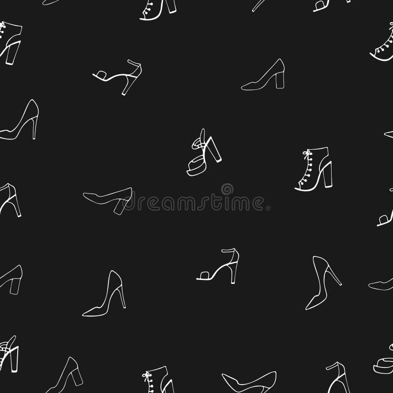 Безшовная картина с ботинками ` s женщин на черной предпосылке иллюстрация штока