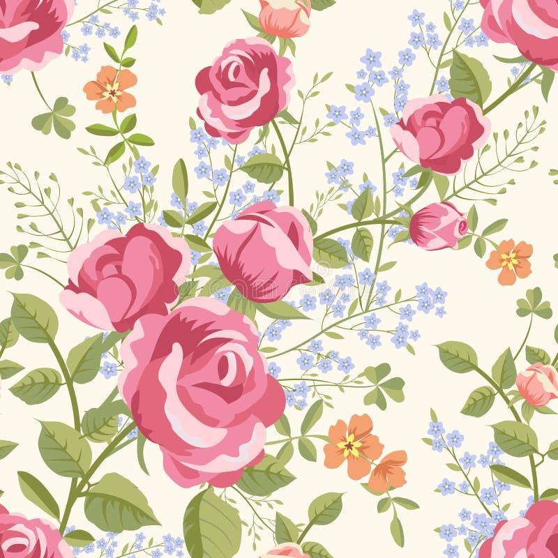 Безшовная картина с букетами цветков иллюстрация вектора