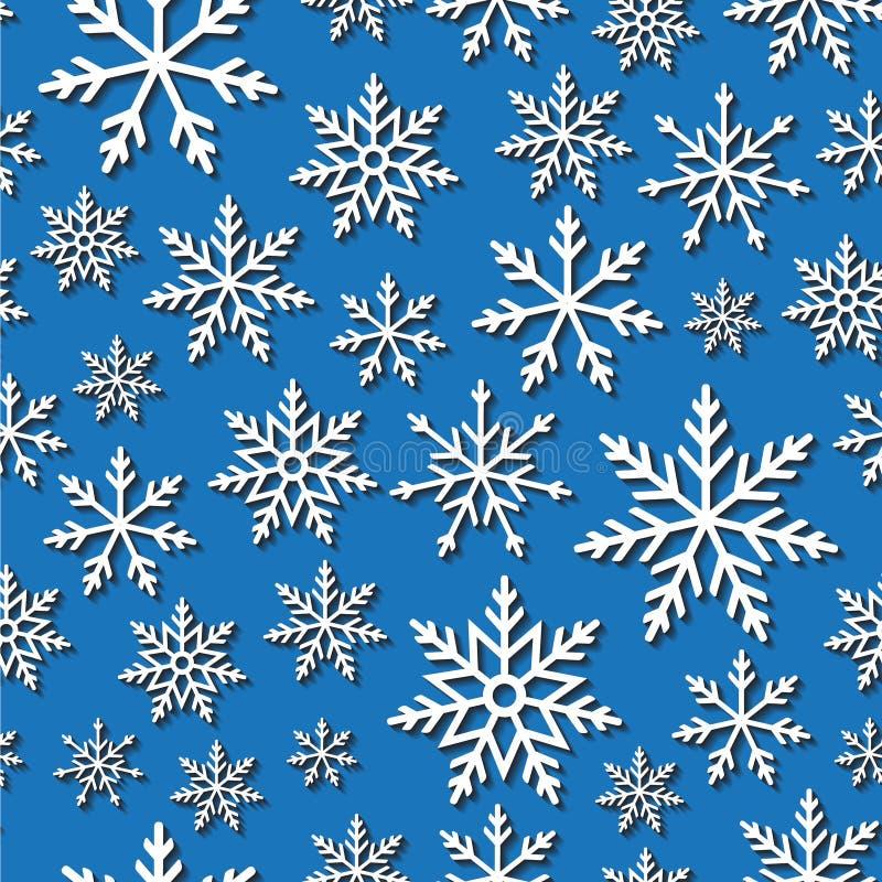 Безшовная картина с бумажными снежинками иллюстрация вектора