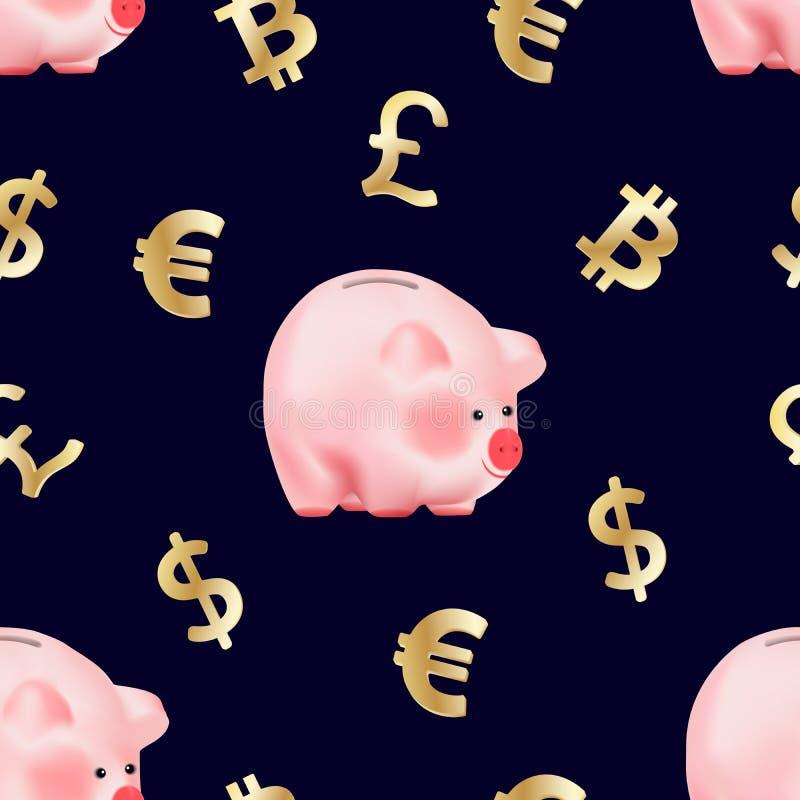 Безшовная картина с валютами долларом мира, символами Bitcoin евро, фунта стерлингов и cryptocurrency золотыми и банком свиньи де иллюстрация вектора