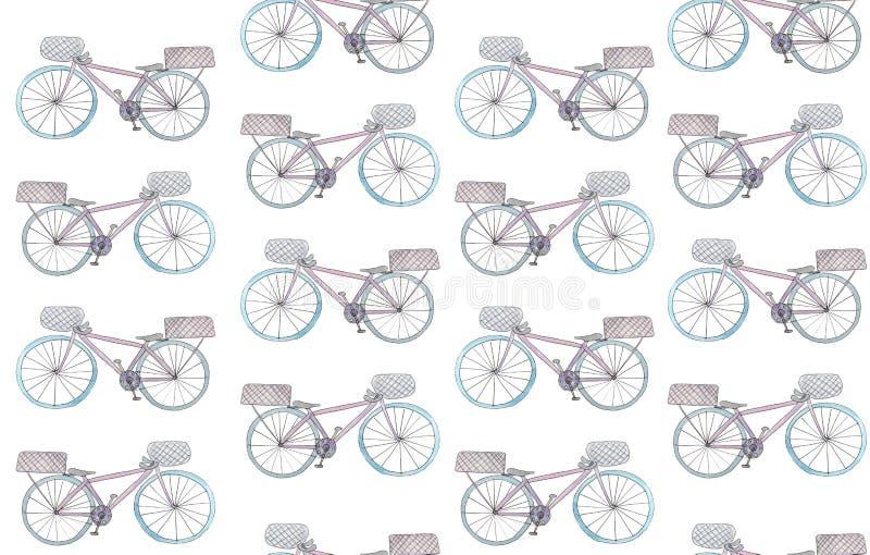Безшовная картина с велосипедами акварели на белой предпосылке иллюстрация растра для дизайна бесплатная иллюстрация