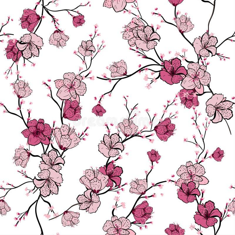 Безшовная картина с ветвями дерева пинка зацветая, яблоня или иллюстрация вектора