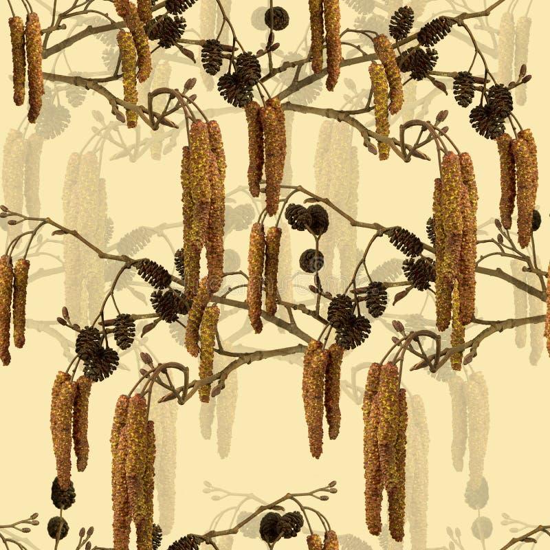 Безшовная картина с ветвями ольшаника. стоковая фотография rf
