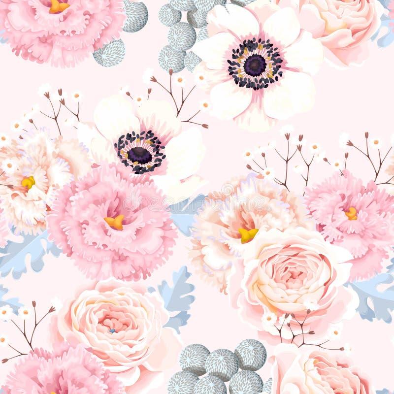 Безшовная картина с ветреницами и розами иллюстрация штока