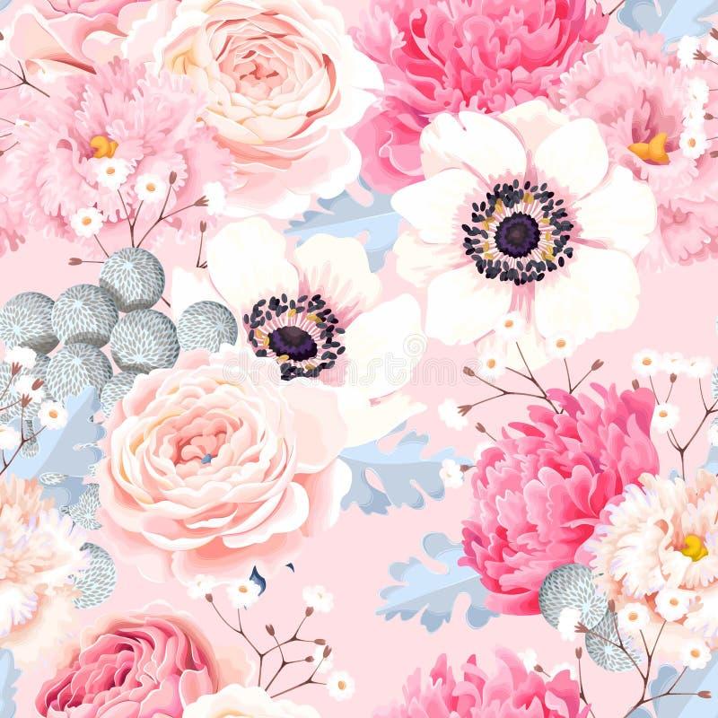 Безшовная картина с ветреницами и розами бесплатная иллюстрация