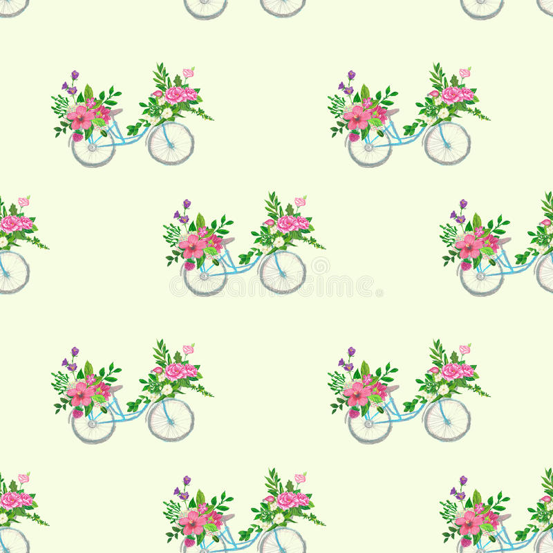 Безшовная картина с велосипедом и цветками иллюстрация штока