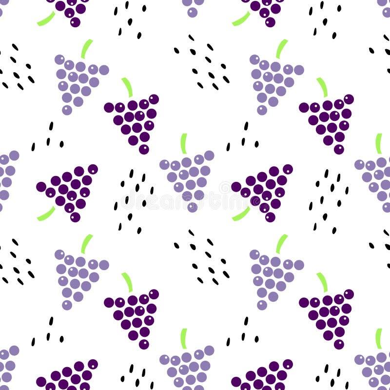 Безшовная картина с виноградинами и семенами бесплатная иллюстрация