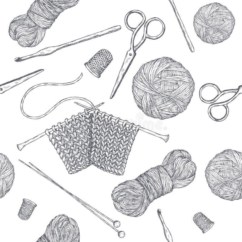 Безшовная картина с винтажными вязать инструментами Основанный в наличии вычерченный эскиз Серия класса хобби иллюстрация вектора