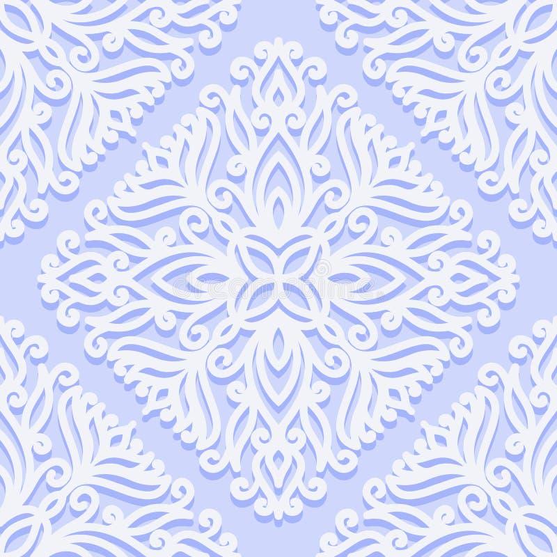 Безшовная картина с винтажными орнаментами с скручиваемостями Белый цветочный узор на голубой предпосылке иллюстрация вектора