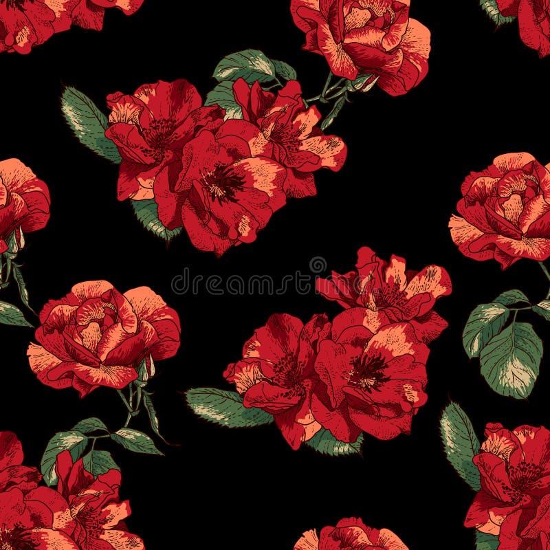 Безшовная картина с винтажными розами иллюстрация вектора