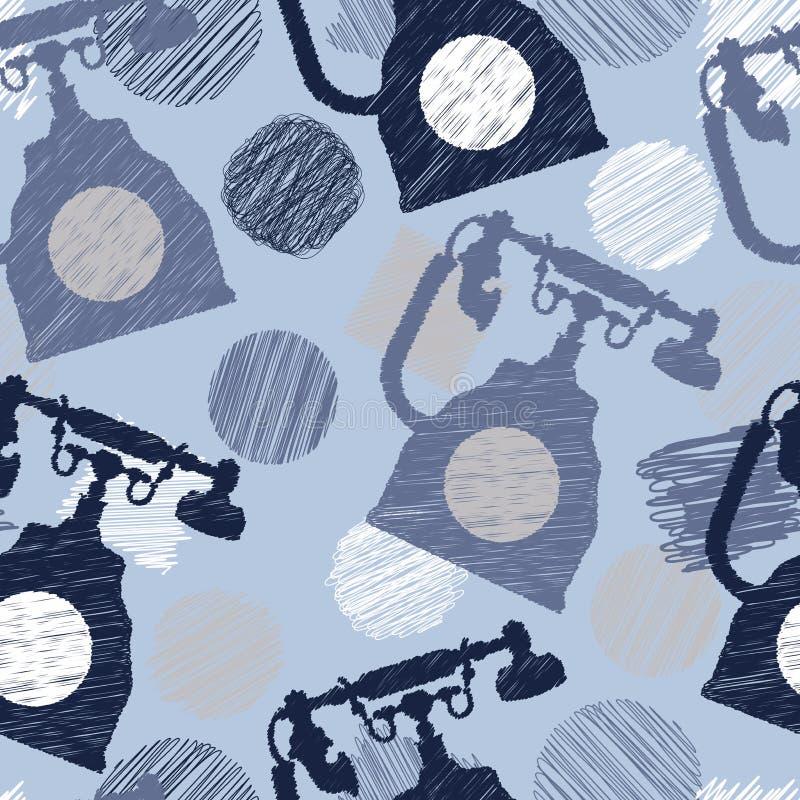 Безшовная картина с винтажными elenents телефона и scribble бесплатная иллюстрация