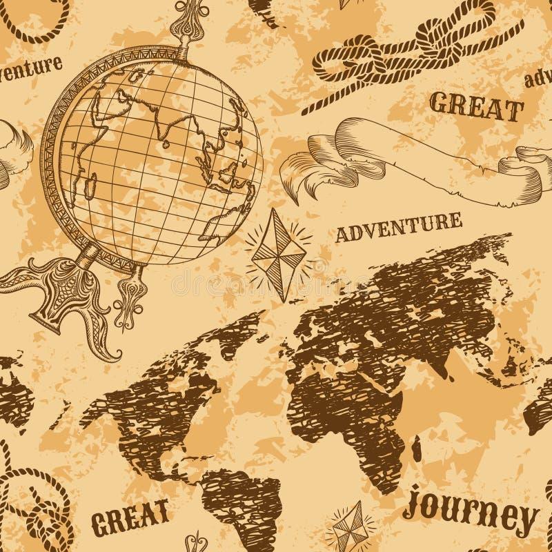 Безшовная картина с винтажным глобусом, абстрактной картой мира, узлами веревочки, лентой Ретро нарисованное рукой приключение ил иллюстрация штока