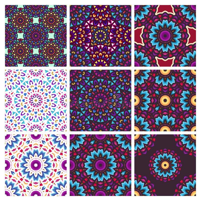 Безшовная картина с винтажным искусством мандалы с круговым орнаментом цветка иллюстрация вектора