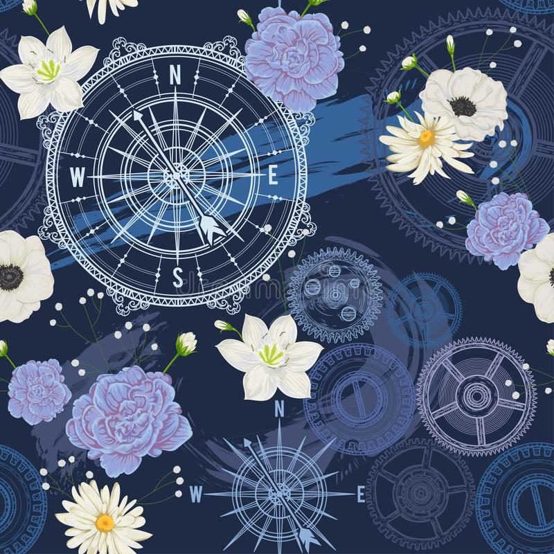 Безшовная картина с винтажным компасом, ветром подняла, шестерни, ходы щетки и цветки Перемещение, приключение и открытие Морская иллюстрация вектора