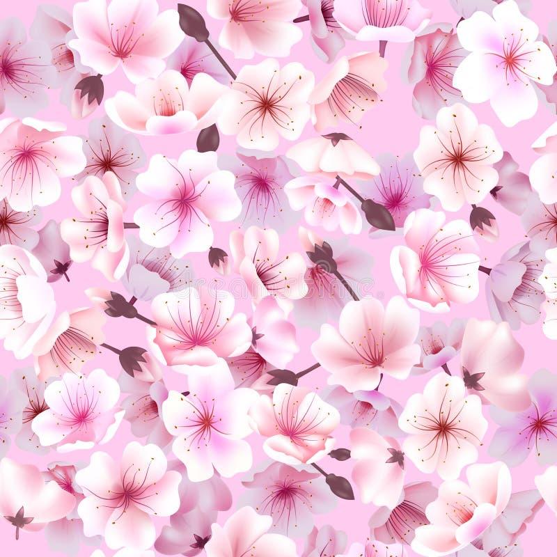 Безшовная картина с вишневым цветом, Blossoming Oriental, фестивалем весны Hanami Сакуры цветя бесплатная иллюстрация