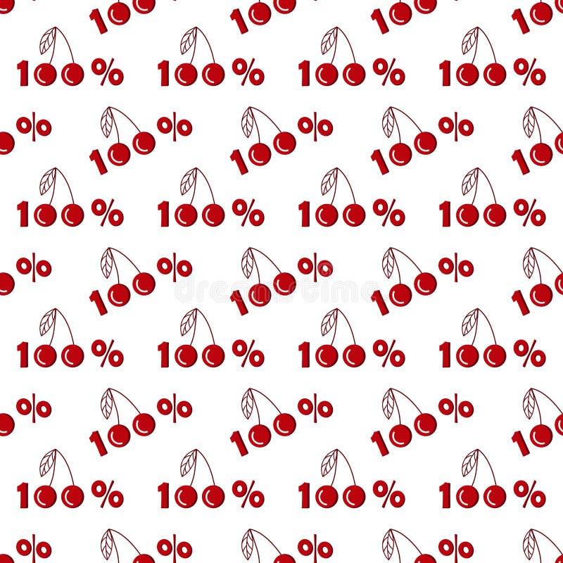 Безшовная картина с вишнями 100 процентов в плоском стиле бесплатная иллюстрация
