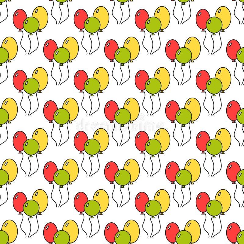Безшовная картина с воздушными шарами цвета предпосылка праздничная вектор иллюстрация вектора
