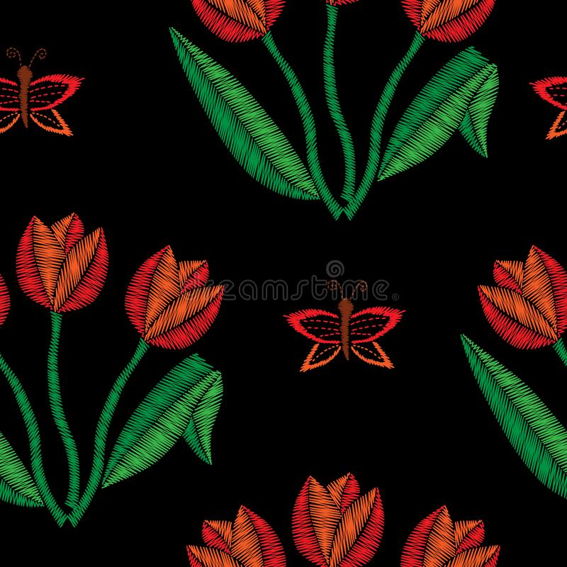 Безшовная картина с вышивкой тюльпана шьет имитацию иллюстрация штока